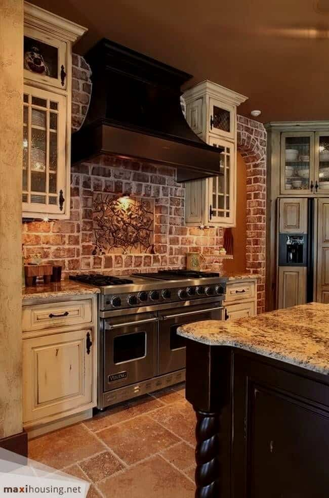Antique White Kitchen Cabinets With Bricks