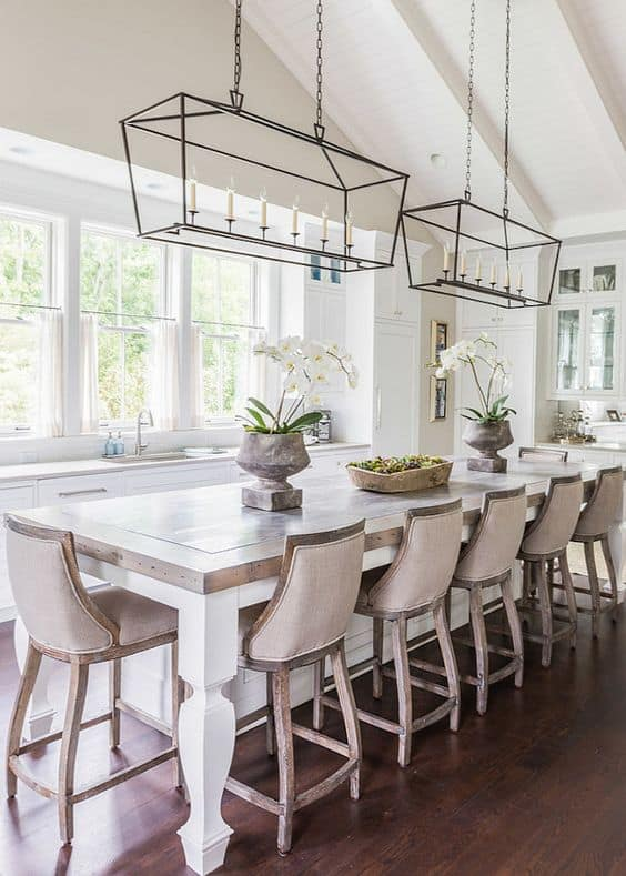 Breakfast With Antique White Kitchen Bar Table
