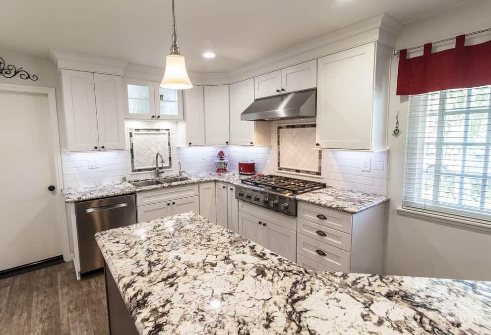 Dark Kitchen Island with Exodus White Granite