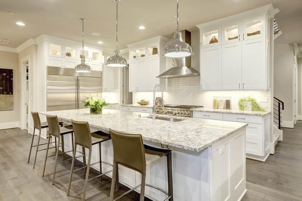 Kitchen Island with Exodus White Granite Countertop