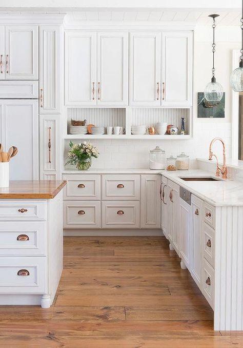 Vintage White Raised Panel Cabinets